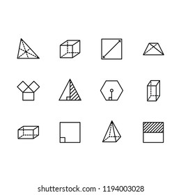 Simple set geometric figures vector line icon. Contains such square, cube, rectangle, hexagon, triangle, trapezium, angles and lines, degree of angle and other