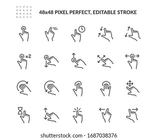 Simple Set of Gesture Related Vector Line Icons. Contains such Icons as Zoom, Move, Tap and more. Editable Stroke. 48x48 Pixel Perfect.