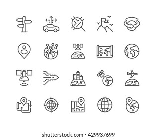 Simple Set of Global Navigation Related Vector Line Icons.  Contains such Icons as World Map, Branch Office, Business trip and more.  Editable Stroke. 48x48 Pixel Perfect.