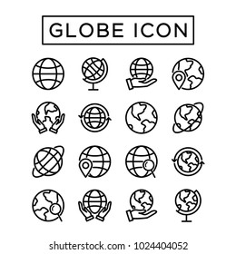 Simple set Globe Icon. Editable stroke outline. Element for mobile concept and web apps
