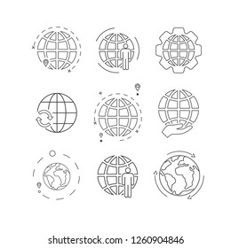Simple set of globe related outline icons. Elements for mobile concept and web apps. Thin line vector icons for website design and development, app development. Vector