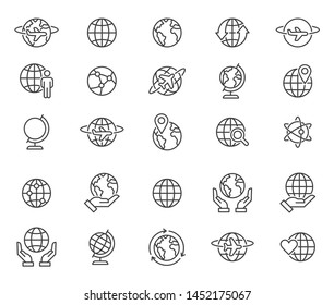Simple set of globe related outline icons. Elements for mobile concept and web apps. Thin line vector icons for website design and development, app development. Premium pack
