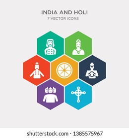 simple set of gnostic, brahma, hanuman, ashoka icons, contains such as icons india mother, chandra, kali and more. 64x64 pixel perfect. infographics vector