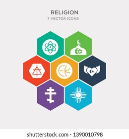 simple set of gnosticism, native american sun, greek cross, sufism icons, contains such as icons eckankar, christian reformed church, abrahamic and more. 64x64 pixel perfect. infographics vector
