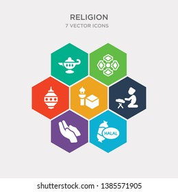simple set of halal, dua hands, reading quran, kaaba mecca icons, contains such as icons islamic lantern, arabic art, genie lamp and more. 64x64 pixel perfect. infographics vector