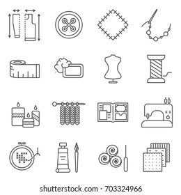 Simple Set of handmade Related Vector Line Icons. Contains such Icons as knitting, sewing, embroidery, drawing, design, beading and more.