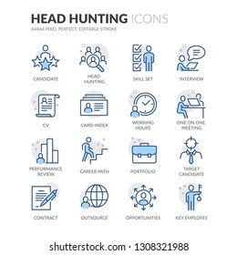 Simple Set of Head Hunting Related Vector Line Icons. Contains such Icons as Candidate, CV, Card Index, Outsource and more. Editable Stroke. 64x64 Pixel Perfect.