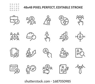 Simple Set of Headhunting Related Vector Line Icons. Contains such Icons as Self Presentation, Resume, Work group and more. Editable Stroke. 48x48 Pixel Perfect.