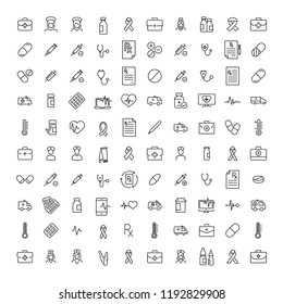 Simple set of health related outline icons. Elements for mobile concept and web apps. Thin line vector icons for website design and development, app development. Premium pack.