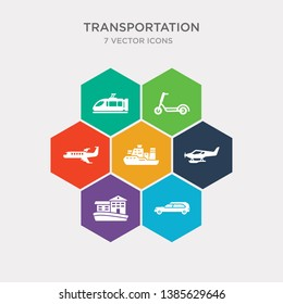 simple set of hearse, houseboat, hydroplane, icebreaker ship icons, contains such as icons jetliner, kick scooter, light rail and more. 64x64 pixel perfect. infographics vector