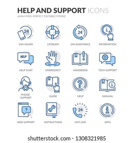 Simple Set of Help And Support Related Vector Line Icons. Contains such Icons as Handbook, Online Help, Tech Support and more. Editable Stroke. 64x64 Pixel Perfect.