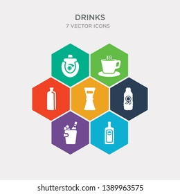 simple set of herbal liquor, ice bucket and bottle, ice tea, jigger icons, contains such as icons juice bottle, latte, lemon juice and more. 64x64 pixel perfect. infographics vector