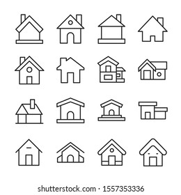Simple set of home icons in trendy line style. Modern vector symbols, isolated on a white background. Linear pictogram pack. Line icons collection for web apps and mobile concept.