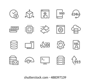 Simple Set of Hosting Related Vector Line Icons.  Contains such Icons as SSD Disk, Control Panel, Traffic, Firewall and more. Editable Stroke. 48x48 Pixel Perfect.