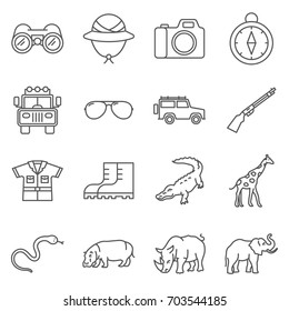Simple Set of Hunting Related Vector Line Icons. Contains such Icons as binoculars, nature reserve, crocodile, elephant, Rhino, shotgun and more.