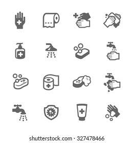 Simple Set Hygiene of Fight Related Vector Icons for Your Design.