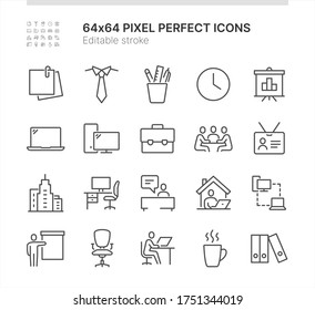 Simple Set of Icons Related to Office Work. Contains such icons as Work from Home, Meeting, Reception and more. Lined Style. 64x64 Pixel Perfect. Editable Stroke.