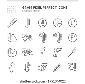 Simple Set of Icons Related to Temperature. Contains such icons as Body Temperature Check, Thermometer, Heat - Cold and more. Lined Style. 64x64 Pixel Perfect. Editable Stroke.
