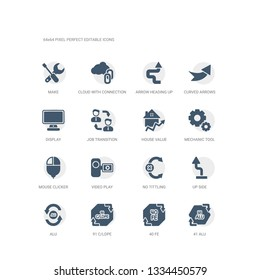 simple set of icons such as 41 alu, 40 fe, 91 c/ldpe, alu, up side, no tittling, video play, mouse clicker, mechanic tool, house value. related ui icons collection. editable 64x64 pixel perfect.