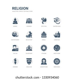 simple set of icons such as abrahamic, agnosticism, anglican, animism, asceticism, atheism, blasphemy, cao dai, christian, diwali. related religion icons collection. editable 64x64 pixel perfect.