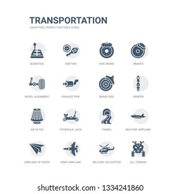 simple set of icons such as all terrain, military helicopter, army airplane, airplane of paper sheet, military airplane, tunnel, hydraulic jack, air filter, damper, brake disc. related