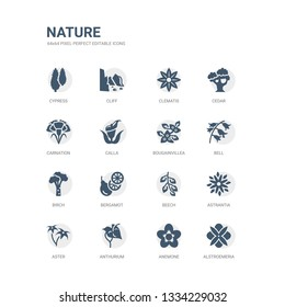 simple set of icons such as alstroemeria, anemone, anthurium, aster, astrantia, beech, bergamot, birch, bell, bougainvillea. related nature icons collection. editable 64x64 pixel perfect.