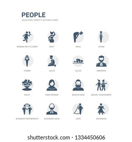 simple set of icons such as bohemian, cape, bussiness man, business partnership, sexual harassment, muslim man, arab woman, salat, emperor, sujud. related people icons collection. editable 64x64
