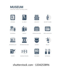 simple set of icons such as botanical, gioconda, museum fencing, poetry, ballet, ceramic, information desk, anthropology, metal detector, museum building. related museum icons collection. editable