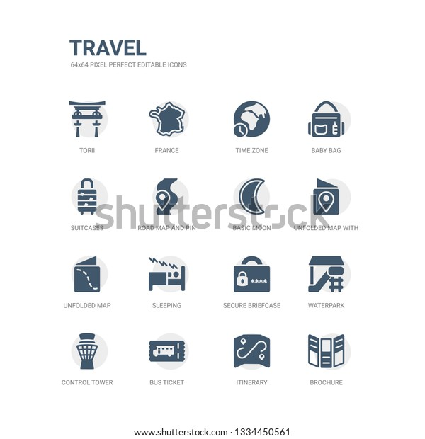 Simple Set Icons Such Brochure Itinerary Stock Vector