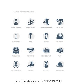 simple set of icons such as buttonhole, garment, grommet, pinking shears, pleat, sewing clip art, measuring, needlework, pin holder, pin sew. related sew icons collection. editable 64x64 pixel