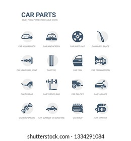 simple set of icons such as car starter, car sump, car sunroof or sunshine roof, suspension, tailgate, tailpipe, torsion bar, towbar, transmission, trim. related parts icons collection. editable