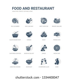 simple set of icons such as cider, champagne glass, sour soup, kung pao chicken, moon cake, zongzi, buddhas delight, cantonese seafood soup, peking duck, baozi. related food and restaurant icons