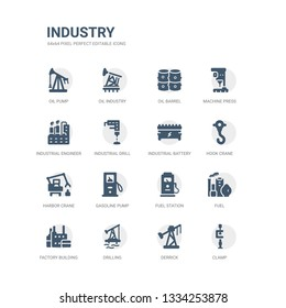 simple set of icons such as clamp, derrick, drilling, factory building, fuel, fuel station, gasoline pump, harbor crane, hook crane, industrial battery. related industry icons collection. editable