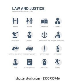 simple set of icons such as corpse, balaclava, death certificate, swat, pepper spray, butterfly knife, prisoner transport vehicle, electroshock weapon, accident and injuries, adminstrative law.