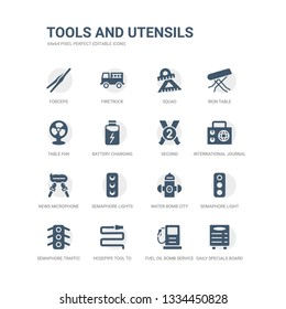 simple set of icons such as daily specials board, fuel oil bomb service, hosepipe tool to extinguish fire or gardening, semaphore traffic lights, semaphore light, water bomb city supplier, semaphore