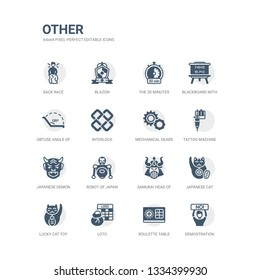 simple set of icons such as demostration, roulette table, loto, lucky cat toy, japanese cat, samurai head of japan, robot of japan, japanese demon, tattoo machine, mechanical gears. related other