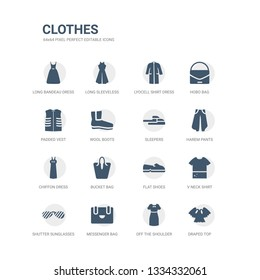 simple set of icons such as draped top, off the shoulder dress, messenger bag, shutter sunglasses, v neck shirt, flat shoes, bucket bag, chiffon dress, harem pants, sleepers. related clothes icons