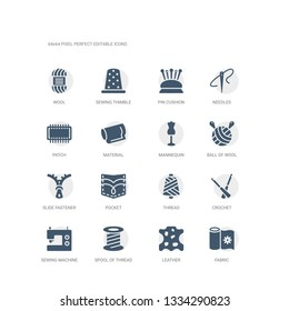 simple set of icons such as fabric, leather, spool of thread, sewing machine, crochet, thread, pocket, slide fastener, ball of wool, mannequin. related sew icons collection. editable 64x64 pixel