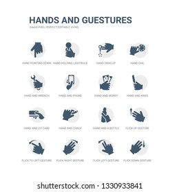 simple set of icons such as flick down gesture, flick left gesture, flick right gesture, to left up hand and a bottle, hand and chalk, hand and cit card, knife, money. related hands guestures icons