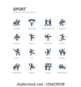 simple set of icons such as formula racing, go game, handball, horse racing, horseball, hurling, judo, kendo, kickball, kickboxing. related sport icons collection. editable 64x64 pixel perfect.