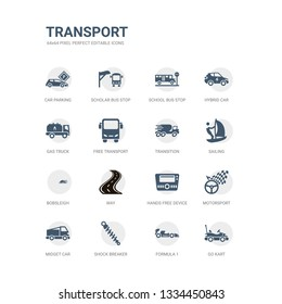 simple set of icons such as go kart, formula 1, shock breaker, midget car, motorsport, hands free device, way, bobsleigh, sailing, transition. related transport icons collection. editable 64x64