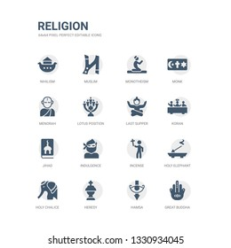 simple set of icons such as great buddha, hamsa, heresy, holy chalice, holy elephant, incense, indulgence, jihad, koran, last supper. related religion icons collection. editable 64x64 pixel perfect.