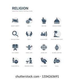 simple set of icons such as halal, dua hands, reading quran, kaaba mecca, islamic lantern, arabic art, genie lamp, holy quran, palm tree with date, allah word. related religion icons collection.
