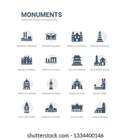 simple set of icons such as hassan mosque, alcala gate, dome of the rock, the clock tower, belem tower, chiang kai shek memorial hall, canadian national tower, temple of heaven in beijing, qutb