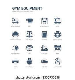 simple set of icons such as jumping rope, sneakers, weight scale, step, buck, elliptical, tire, punching ball, weight plates, gym bars. related gym equipment icons collection. editable 64x64 pixel