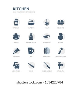 simple set of icons such as kitchen tap, knife sharpener, knives, meat grinder, meat tenderizer, muffin pan, mug, pastry bag, pitcher, recipe book. related kitchen icons collection. editable 64x64
