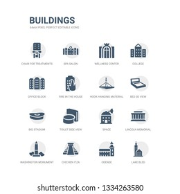 simple set of icons such as lake bled, odense, chichen itza, washington monument, lincoln memorial, space, toilet side view, big stadium, bed 3d view, hook hanging material. related buildings icons