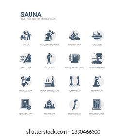simple set of icons such as luxury shower, mottled skin, private spa, regeneration, respiration, roman bath, sauna temperature, smoke sauna, snow paradise?, sound stimulation. related sauna icons