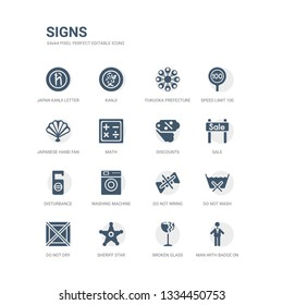 simple set of icons such as man with badge on his cheast, broken glass, sheriff star, do not dry, do not wash, do not wring, washing machine, disturbance, sale, discounts. related signs icons
