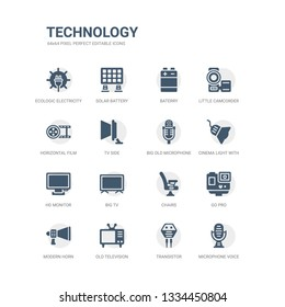 simple set of icons such as microphone voice, transistor, old television, modern horn, go pro, chairs, big tv, hd monitor, cinema light with cable, big old microphone. related technology icons